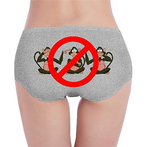 Ghhpws Women's Low-Rise Lingerie Cute Monkey Hear See No Evil Cotton Hipsters Bikini Brief Panties Underwear L