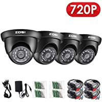 ZOSI 4 Pack 720P 1.0MP Outdoor Indoor 3.6mm 24PCS Infrared IR Lens Day Night CCTV IR Cut Surveillance Security Camera Black Compatible for TVI DVR
