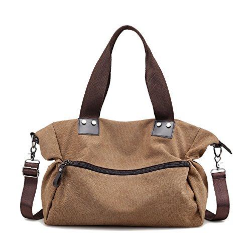 Messenger Shoulder Women's Bag Lonson Bag Travel Totes Purses Bag Canvas Browm Handbag 67fSxqSwz
