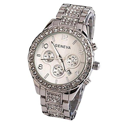 Perman Womens Wrist Watch, Geneva 40MM Fashion Luxury Crystal Quartz Analog Stainless Steel Band Watch
