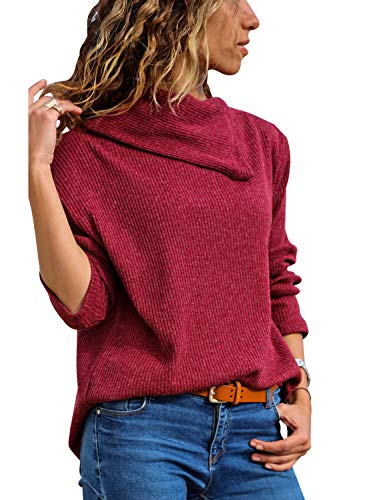 FARYSAYS Women's Lightweight Pullover Sweater Long Sleeve Lapel Collar Ribbed Knit Tops Blouse Red Medium
