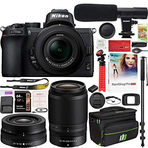Nikon Z50 Mirrorless Camera Body 4K UHD DX-Format 2 Lens Kit NIKKOR Z DX 16-50mm F/3.5-6.3 VR + Z DX 50-250mm F/4.5-6.3 VR Bundle with Deco Gear Case + Microphone + Monopod + 64GB Card & Accessories