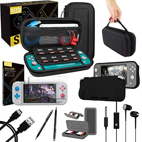 Orzly Switch Lite Accessories Bundle - Case & Screen Protector for Nintendo Switch Lite Console, USB Cable, Games Holder, Comfort Grip Case, Headphones, Thumb-Grip Pack & More Gift Pack from Orzly