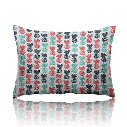 "homehot Pineapple Throw Pillowcase Island Pineapple Tropic Fruit Pattern Stamped Minimal Backdrop Pop Art Cold Pillowcase 13""x18""Turquoise Coral White"