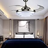 TiptonLight Mute Remote Control Ceiling Chandelier Modern Style with 4 Clean Acrylic Retractable Blades LED Ceiling Fan Lights 42 Inch Silver Modern Style No Dimming
