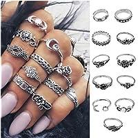 Nongkhai shop 11Pcs/Set Vintage Silver Boho Arrow Moon Midi Finger Knuckle Rings Jewelry Gift