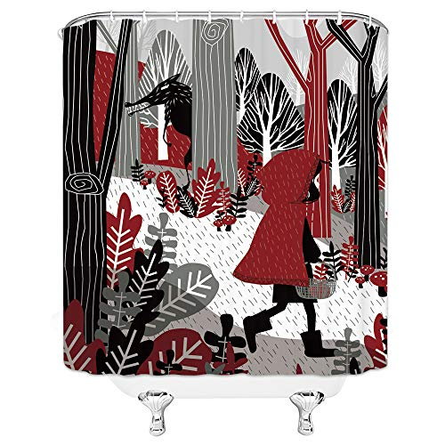 Xnichohe Fairy Tale Shower Curtain Little Red Riding Hood Bath Big Grey Wolf Fairy Tale, Personalized Bathroom Decoration, 70x70 Inch Waterproof Polyester Fabric with Hook