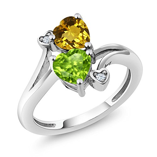 1.56 Ct Heart Shape Green Peridot Yellow Citrine 925 Sterling Silver Ring (Ring Size 5)
