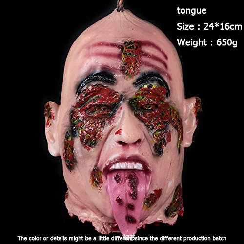 Charmgle Halloween Decorations Severed Head Cut off Corpse Head Prop Hanging Bloody Gory Latex Zombie Party Supplies (Tongue) ()
