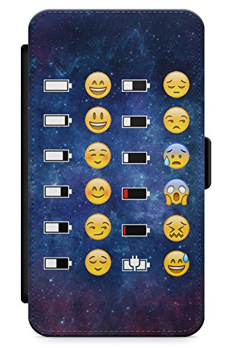 Case Warehouse iPhone 5 Case, iPhone 5s, iPhone SE Emoji Battery Space Pattern Phone Case Premium Leather Flip Wallet Card Holder Slots | Cute Emojis Space Funny Emoticon -  I5-W-EMOJIBAT