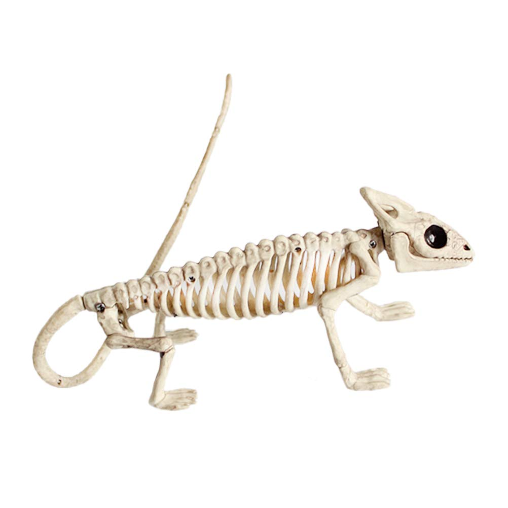 Amosfun Halloween Animal Scary Skeleton Props Happy Halloween Spooky Skull Animal Skeleton Frame Halloween Christmas Birthday Gift for Friends (Lizard)