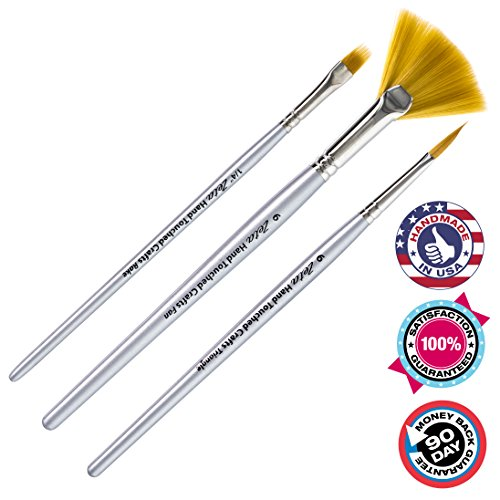 Artist Paintbrushes: 3pc Specialty Paintbrush Set For Acrylic Paint, Oil  Watercolor. Durable, Easy Clean, Taklon Brush Fiber. Brushes Are Handmade I…