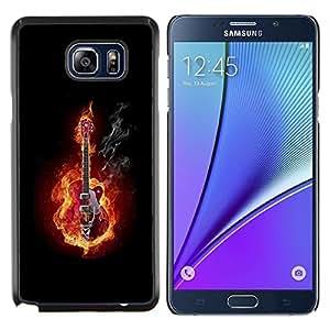 """Be-Star Único Patrón Plástico Duro Fundas Cover Cubre Hard Case Cover Para Samsung Galaxy Note5 / N920 ( Guitarra En Fuego y Humo"""" )"""