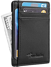 Front Pocket Minimalist Leather Slim Wallet RFID Blocking...