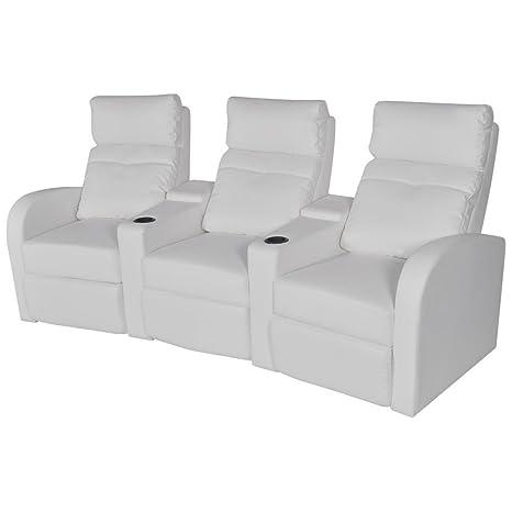 festnight sofá reclinable cine de casa 3 asientos de piel ...