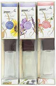 Greenair All Natural Reed Diffuser Set of 3, Fresh Linen, Honeysuckle and Lavender, 6.6-Ounce