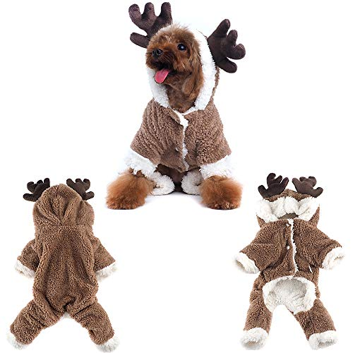 Pet Reindeer Coat Christmas Elk Moose Costume Dog Clothes Winter Puppy Holiday Apparel Outfit Dog Hoodie Coat Party Dress Up Hooded Clothes (XS) -