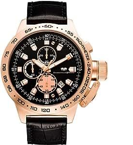 Rhodenwald & Söhne Nantano - Reloj cronógrafo de caballero de cuarzo con correa de piel negra (cronómetro)