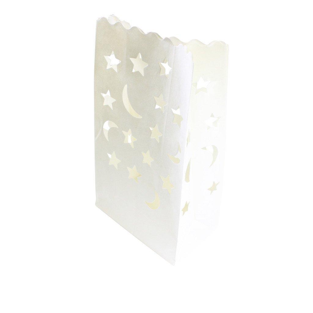 Iable 20個入れ白い紙製ライトキャンドルランタンバッグ ウェディングパーティーやBBQやクリスマスなどに最適 ムーンスター形 B01FP992AY 11439 ムーンスター ムーンスター