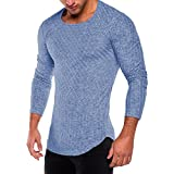 HGWXX7 Men's Fashion Solid O Neck Long Sleeve Muscle Tee T-Shirt Tops Blouse (L, Blue)