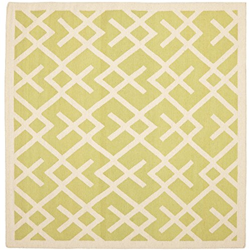 - Safavieh Dhurries Collection DHU552A Hand Woven Light Green and Ivory Premium Wool Square Area Rug (8' Square)