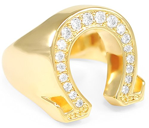 The Collegiate Standard Omega 14k Gold Plated Letter Ring with CZs (Mens) / Mens Jewelry/Mens Ring