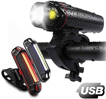 2X Mountain Bike Bicycle Lights Set USB Rechargeable Cycle Front Back Headli PS