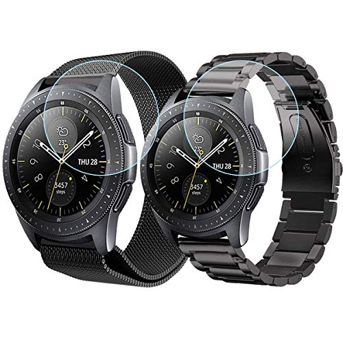 Koreda Compatible with Galaxy Watch 46mm/Gear S3 Frontier/Classic Bands Sets, 2 Pack Stainless Steel Metal + Mesh Loop Strap Replacement for Ticwatch Pro/Galaxy Watch 46mm SM-R800 -