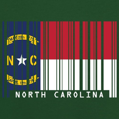 North Carolina / Nord-Carolina Barcode Flagge - Herren T-Shirt - Flaschengrün - XL