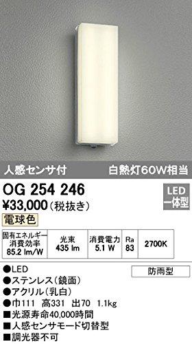 ODELIC(オーデリック) 【工事必要】 エクステリアライト LEDポーチライト【人感センサ付】 OG254246 B008KH02PI 14078