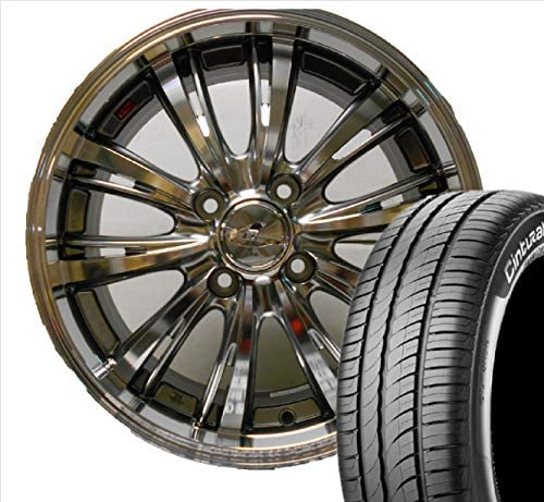 4本 WEDS LEONIS EX (BK/BRS) 16-6.0J 4H100 +42 PIRELLI Cinturato P1 VERDE 185/55R16 タイヤ、ホイールセット ヴィッツ、アクア レオニス ピレリ