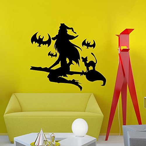 Halloween Wall Decals Witch in Broom Bats Decal Holiday Design Attributes Halloween Panic Room Bedroom Window Decor Stickers DA3976 for $<!--$28.99-->
