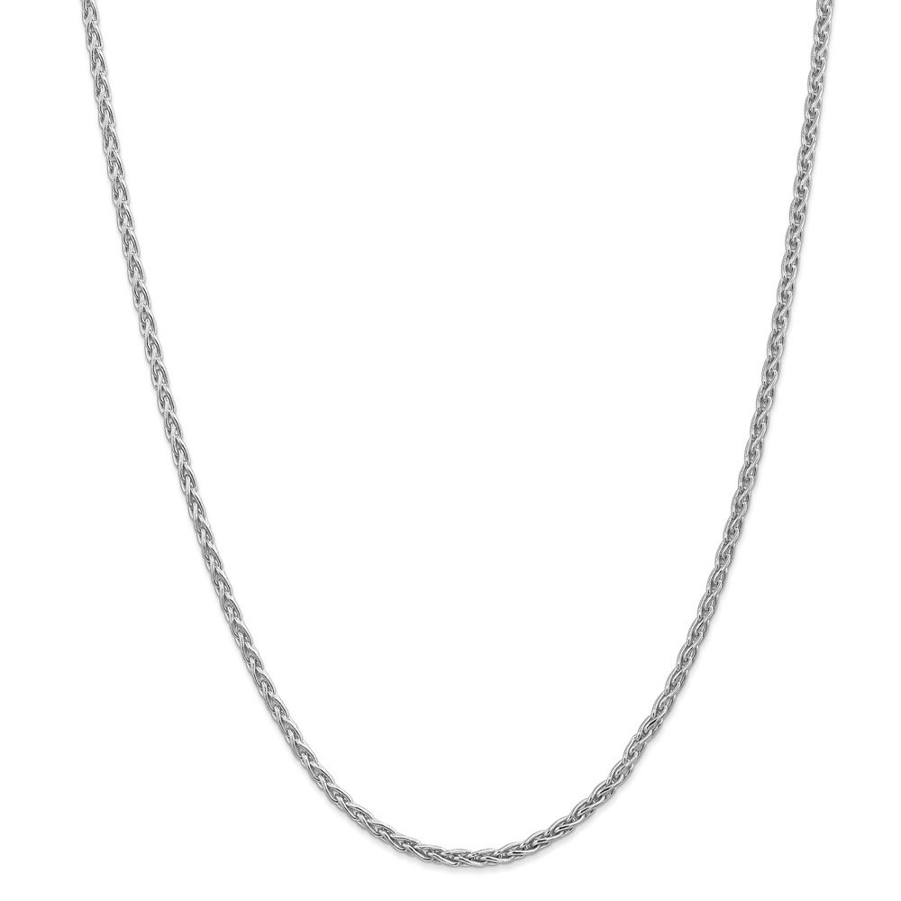 14k White Gold Solid Polished Lobster Claw Closure 3mm Round Wheat Chain Necklace - 18 Inch - Lobster Claw