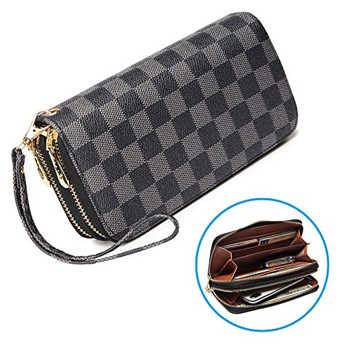 Checkbook Double Clutch Zip - Wristlet Wallets for Women Long Womens Wallet Leather Clutch RFID Blocking with Card Holder Double Zippers (Black)