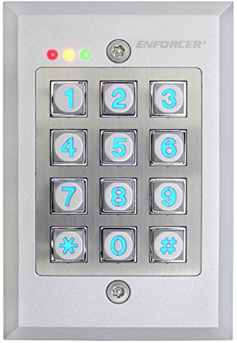 SECO-LARM SK-1123-FDQ Vandal Resistant Flush-Mount Access Control Keypad; 12~24 VAC/VDC auto-adjusting operation; Tamper output N.C. Dry contact/50mA@24VDC max; Mounts to standard single-gang back box