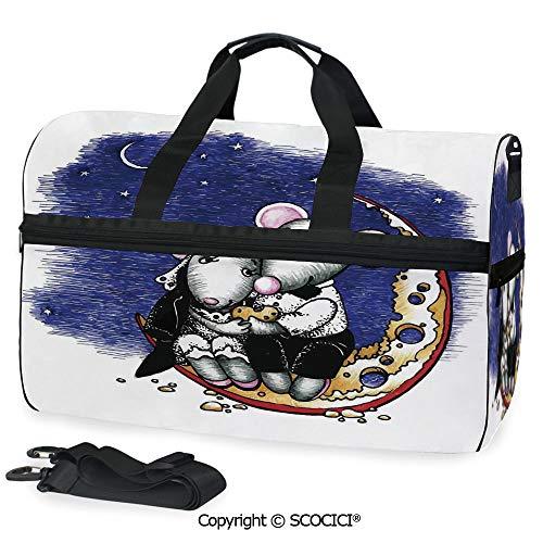 (Multi Pocket Duffle Bag Mouse Couple Sitting on the Cheese Handbag Luggage)