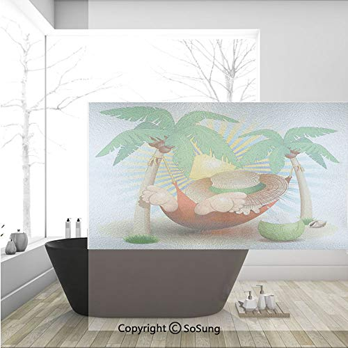 3D Decorative Privacy Window Films,Cute Illustration of Relax Exotic Summer Holidays on Hammock Theme Hot Paradise Lands Decorative,No-Glue Self Static Cling Glass film for Home Bedroom Bathroom Kitch -