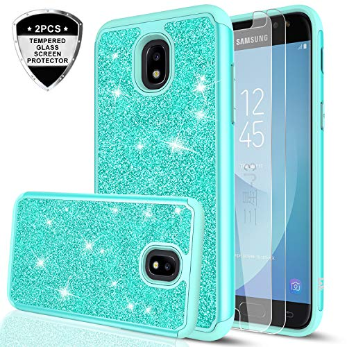 Galaxy J3 2018/J3 Star/J3 Achieve/Express Prime 3/Amp Prime 3 Case w/Tempered Glass Screen Protector for Girls Women,LeYi Glitter Protective Phone Case for Samsung J3V J3 V 3rd Gen TP Mint