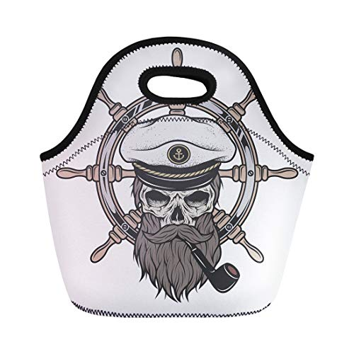 Semtomn Neoprene Lunch Tote Bag Pirate Captain Skull in Hat Beard and Pipe Sea Reusable Cooler Bags Insulated Thermal Picnic Handbag for Travel,School,Outdoors,Work