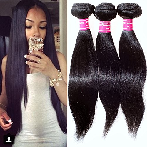(STRAIGHT Brazilian 3 Bundle Pack DEAL with 50% OFF LACE CLOSURE Virgin Hair Weave Extension Weft Track 100 Human Hair GUARANTEED or Natural Black Color)