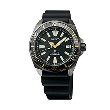 Seiko SRPB55 Prospex Samurai Black Ion Automatic Dive Watch with Black Silicone Strap