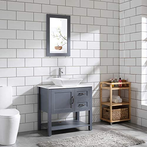 30 Gray Bathroom Vanity and Sink Combo Marble Pattern Top w Mirror Faucet Drain