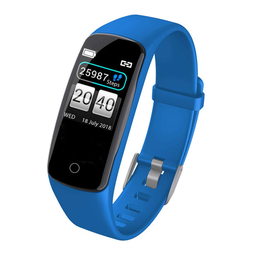 Twnhmj Fitness Tracker Smart Watch Bluetooth Bracelet Pedometer Heart Rate Monitor Step Calorie IP67 Waterproof Call SMS SNS Remind for Men Women Kids Compatible with Android iOS,Blue