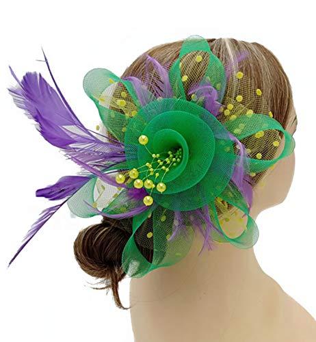 Fascinators Hat for Women Wedding Feather Flower heandbands Party Derby Headbands Clip Tea Party Headwear (Purple)