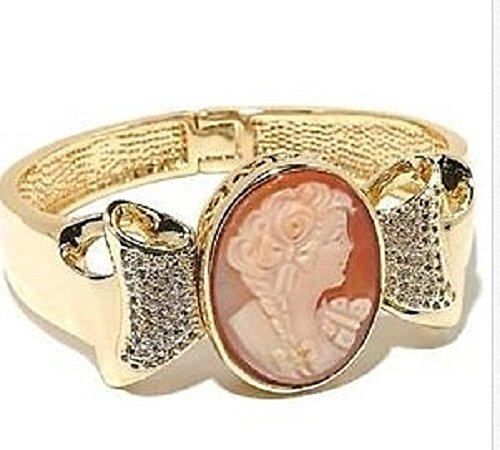 Amedeo Nyc Gold Tone Fiocco 30mm Cornelian Cameo Bow Design Bangle Bracelet Fits 6
