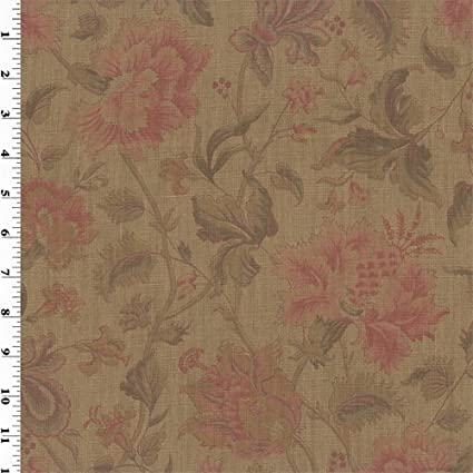 Amazon.com: Brown Vintage Linen Coral/Green Printed Floral ...