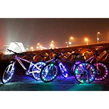 Super Cool LED Bike Wheel Lights with BATTERIES INCLUDED! Visible From All Angles for Ultimate Safety and Style (1 Tire Pack)-Blue