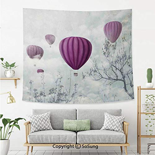 8' Wool Purse - Fantasy House Decor Wall Tapestry,Hot Air Balloons in The Clouds Dream Journey to Secret Paradise Romantic Design,Bedroom Living Room Dorm Wall Hanging,92X70 Inches,Blue Purple