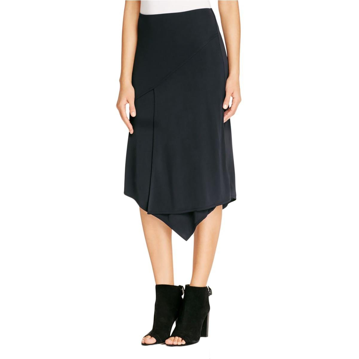 DKNY Womens Layered Jersey Asymmetrical Skirt Navy S