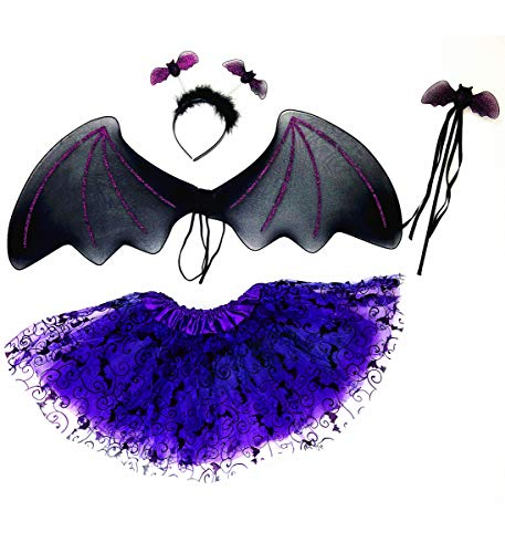 Mozlly Black Bat Headband, Glittery Wings, Violet Tutu & Wand Pretend Play Costume for Children One Size Fits Most Shoulder Straps for Easy Fit Halloween Party Trick Or Treat for Kids (4pc Set) -
